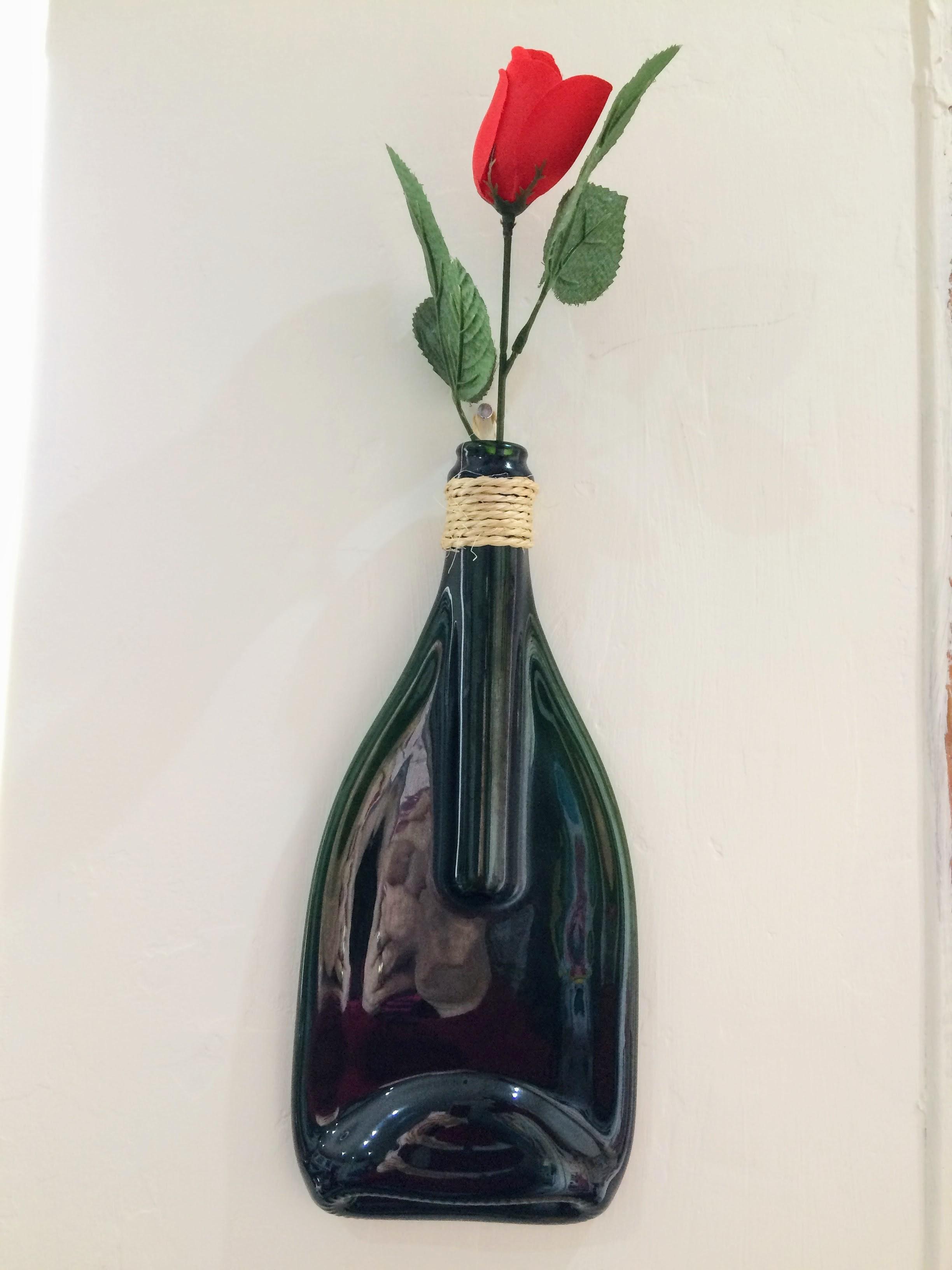 Flattened Bottle Single Stem Vase
